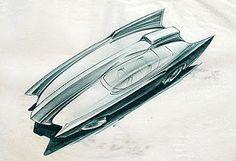 1957 Futuristic Car, John Aiken Rendering - back then common belief was we'd all be Batman in the future...