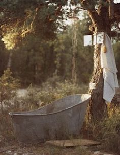 A bush bath with a luxurious overhead shower.  Refreshing on a hot day.