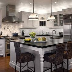 kitchens - seagrass bar stools, seagrass counter stools, white cabinets, white kitchen cabinets, white cabinets with black countertops, , Restoration Hardware Clemson Pendant,