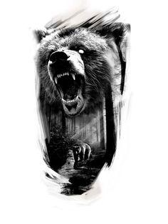 медведь Head Tattoos, Badass Tattoos, Ship Tattoos, Arrow Tattoos, Gun Tattoos, Tattos, Forest Tattoos, Nature Tattoos, Tattoo Sleeve Designs