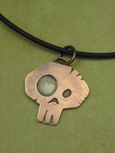 Mixed Metal Simple Skull Pendant Rugged Skull by AmorphicMetals, $35.00