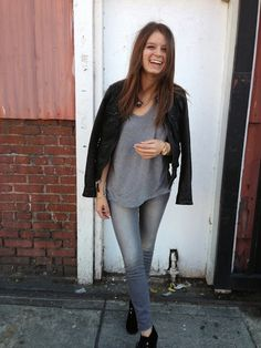 leather jacket, gray t, gray skinnies, black shoe