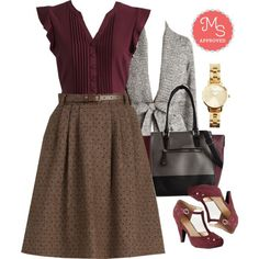 In this outfit: Mentor of Attention Skirt, Expert in Your Zeal Top, Adventure and Splendor Cardigan, Teacup and Running Watch, Triple the Charm Bag, The Zest is History Heel #workwear #chic #fashion #ootd #outfits #ModCloth #ModStylist
