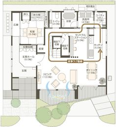 1F階間取り House Sketch, Japanese Interior, House Entrance, Japanese House, House Layouts, House Floor Plans, Interior Architecture, Home And Family, House Design