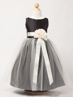Black Satin and Tulle Flower Girl Dress in Sizes Infants-12 in 11 Colors