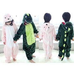 Dinosauria Dinosaurs Children Onesies Kigurumi Sleep Suit Huispak Pink