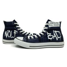 369fc416477b Blue Converse All Star Bad Wolf Tardis Hand Painted Canvas Sneaker fro Men  Women Blue Converse