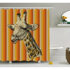 """World Menagerie Breteuil Giraffe Sketch Style Image Portrait of Hipster African Animal Zoo Safari Wildlife Themed Art Shower Curtain Size: 69"""" W x ..."""