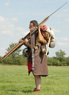 Roman soldier carrying his kit Part of the army's training was a twenty Roman miles (18.4 miles) march (to be completed in five hours) carrying a full pack of weapons, shield, food rations, a cooking pot and a short spade, along with their personal kit.  16