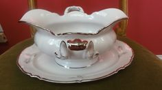 HUTSCHENREUTHER SELB BAVARIA GRAVY BOAT SYLVIA WITH ATTACHED PLATE AND HANDLES  #HUTSCHENREUTHERSELB