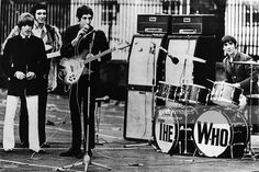 BARRACKS Photo of The Who, Roger Daltrey, John Entwistle, Pete Townshend & Keith Moon - group shot, filming performance for US TV show, showing Marshall amplifiers