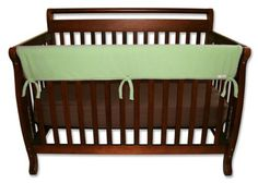 Best Seller Sage Fleece CribWrap® Wide Rail Cover For Crib Front/Back by Trend Lab Protect your baby and protect your crib! Trend Lab's CribWrap® Rail Cover for wide rails is the perfect solution for protecting your crib and teething baby. With super soft sage green Sherpa fleece on the top, a light padding in the middle and a waterproof backing, you no longer have to worry about your baby ingesting wood or harmful toxins. Just wrap and tie on this simple solution to protect your crib rails…