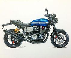 Copic, Xjr 1300, Bike Sketch, Motorbike Design, Drawing Sketches, Drawings, Motorcycle Art, Hot Bikes, Cool Motorcycles
