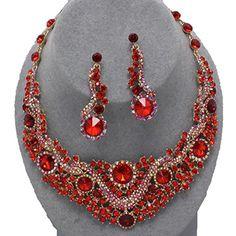 Red Rhinesone Bridal Necklace / AZBLRH057-GRD Arras Creations http://www.amazon.com/dp/B00N6EVIVW/ref=cm_sw_r_pi_dp_dqpdub0C7DWEE