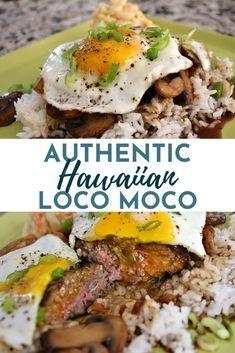 Hawaiian Loco Moco, Easy Dinner Recipes, Easy Meals, Easy Recipes, Hawaiian Dishes, Hawaiian Food Recipes, Hamburger Steak And Gravy, Rice And Gravy, White Rice Recipes