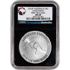 Certified NGC - First Releases - Australia Label - Black Core 'Retro' Holder. The 2016 design features an image of a hopping kangaroo at its center, with textured rays of sunlight emanating outward in all directions. Gifts For Women, Gifts For Her, Silver Coins For Sale, Silver Bullion, Australian Animals, Silver Eagles, Coin Collecting, 1 Oz, Kangaroo