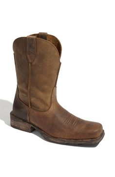 When it comes to cowboy boots on guys, typically I'm not a fan. Until I ran across these Ariat 'Rambler' Boots. I'm even digging the square toe. It gives a great rugged look and the fit is really comfy.