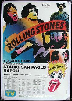 rolling stones en el san paolo, napoli, 1982.
