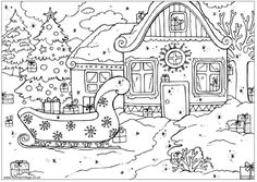 Winter Scenes Coloring Pages Printable Winter Pinterest