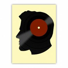 Vinyl Records Lover  DJ Retro Art Wood Print $29.96