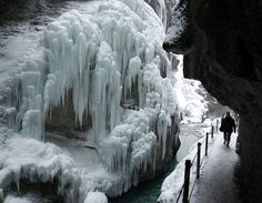Dramatic ice formations wow hikers in the gorge near Partnachklamm Garmisch-Partenkirchen in southern Germany.