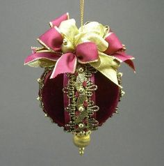"""Jeté"" by Towers and Turrets - Burgundy Red Velvet Ballet Theme Christmas Ball Ornament  - Victorian Inspired, Handmade Towers and Turrets"