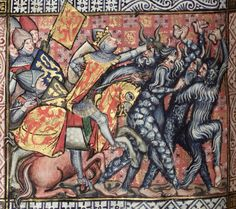 Alexander's battle with wild men. The Romance of Alexander, c. The Bodleian Library, University of Oxford. Medieval Books, Medieval Castle, Medieval Art, Renaissance Art, Illuminated Letters, Illuminated Manuscript, Maleficarum, Monster Illustration, Alexander The Great