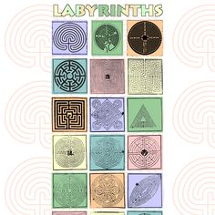 Labyrinth patterns. The one top middle has a branching junction.
