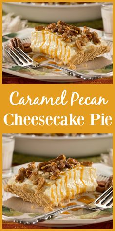One bite of this creamy, Caramel Pecan Cheesecake Pie and you'll be in love!