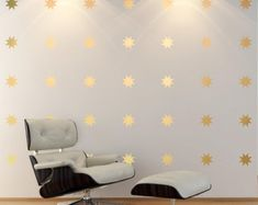 Gold star decal set 8 point star Wall Decals baby nursery wall decor, star decals,Vinyl Art Stickers for Homes, Schools, Interior Designers