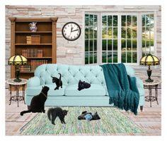 """Black cat at home - contest"" by cardigurl ❤ liked on Polyvore featuring interior, interiors, interior design, home, home decor, interior decorating, Bianco Bianchi, Kate Spade and Judith Leiber"