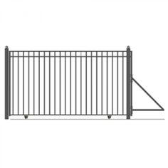 MADRID Style Single Slide Steel Driveway Gate 14' X 6 1/4'