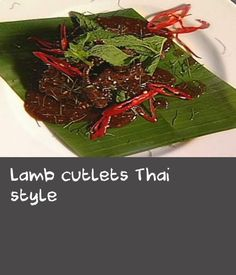 This is a great Thai recipe for a barbecue. Lamb cutlets are marinated and simply grilled, then served with a spicy sauce. Serve as part of a shared meal. My Favorite Food, Favorite Recipes, Barbecue Sauce Recipes, Dinners, Meals, Spicy Sauce, Thai Style, Party Recipes, Thai Recipes