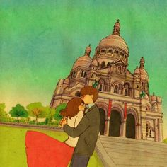 We went to Montmartre. Cute Love Stories, Love Story, Love Is Sweet, What Is Love, Couple Illustration, Illustration Art, Puuung Love Is, Future Love, Korean Artist