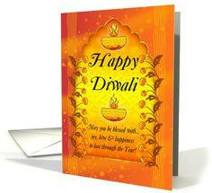 General Diwali / Deepawali card: Diwali Greeting Card With Lamps Greeting Card by Moonlake Designs