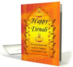 General Diwali / Deepawali card: Diwali Greeting Card With Lamps Greeting Card by Moonlake Designs