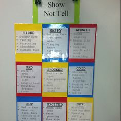 """""""Show, Not Tell"""" poster for revising writing and adding more detail. This list could be added to throughout the year to expand students writing. In your writing you want to show the audience what is happening by creating an image in their head. Writing Strategies, Writing Lessons, Teaching Writing, Writing Activities, Writing Skills, Writing Tips, Teaching Ideas, Writing Station, Elementary Teaching"""