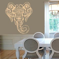 FREE SHIPPING Elephant Wall Decal Ganesh Vinyl Sticker Decorated Indian Elephant Head Animals Interior Design Art Mural Bedroom Decor kk163