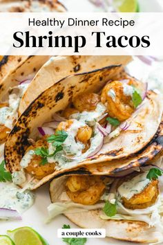 These quick and easy shrimp tacos are a fast dinner recipe for weeknights or entertaining, and taste stunning drizzled in a creamy cilantro sauce! | healthy dinner recipes | mediterranean diet recipes | shrimp recipes | mexican food recipes | taco recipes | pescatarian recipes | #shrimp #tacos #delicious #quick #healthy #easy #dinner #fast Healthy Tuna Recipes, Vegan Recipes Plant Based, Baked Salmon Recipes, Healthy Food Options, Shrimp Recipes, Mexican Food Recipes, Vegetarian Cookbook, Vegetarian Recipes, Cooking Recipes