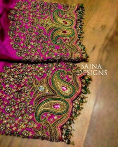 #stoneandsequinswork #beadsembroidery #zardosiembroidery #pinkandgreensaree #shortsleeveblouse #sajnadesigns #sajnabridalweardesigner #receptionblouse #weddingblouse #bridalblouse #indianwedding #indianbride #bride #wedding #silksareeblouse #designerblouses