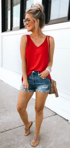 Red camisole and denim shorts. Casual Womens Fashion and Womens Cool Trending Clothes, Dresses. Source by thefinestfeed fashion casual Red camisole and denim shorts. Casual Womens Fashion and Womens Cool Trending Clothes, Dresses. Source by thefinestfeed Womens Fashion Casual Summer, Casual Summer Dresses, Cute Summer Outfits, Short Outfits, Spring Outfits, Dress Summer, Dress Casual, Teen Outfits, Winter Dresses