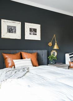 Dark and Moody Modern Farmhouse Bedroom Update 2019 Dark and Moody Modern Farmhouse Bedroom. The post Dark and Moody Modern Farmhouse Bedroom Update 2019 appeared first on Bedroom ideas. Bedroom Colors, Home Decor Bedroom, Master Bedroom, Bedroom Ideas, Bedroom Images, Interior Livingroom, Bedroom Designs, Dark Accent Walls, Accent Wall Bedroom