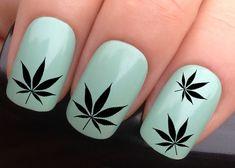 nail decals 617 black cannabis leaf hash marijuana by Nailiciousuk