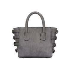 SheIn(sheinside) Grey Buckles Embellished PU Tote Bag ($17) ❤ liked on Polyvore featuring bags, handbags, tote bags, grey, tote purse, grey handbags, grey tote, gray handbags and handbags totes