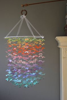 Butterfly mobile, chandelier (largest size) in pastel rainbow colors, from card stock --- Butterfly babyshower, handmade mobile or baby gift door SierGoed op Etsy Rainbow Room, Rainbow Theme, Rainbow Baby, Rainbow Colors, Mobile Chandelier, Diy Chandelier, Butterfly Mobile, Fabric Ribbon, Diy Projects To Try