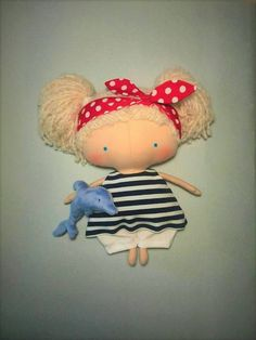 Tilda dolls Dolphin Stuffed doll Summer outdoors Cute dolls Sea voyages Gift for daughter Marine-style Fabric Rag doll Pin-up Clothing doll
