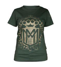 Damska koszulka 'Logo' khaki - przód ---> Streetwear shop: odzież uliczna, kibicowska i patriotyczna / Przepnij Pina!