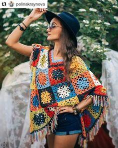 Poncho Shawl, Crochet Poncho, Knit Crochet, Crochet Accessories, Crochet Clothes, Scarves, Bohemian, Knitting, Instagram