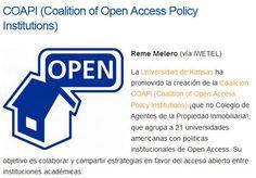 COAPI (COALITION OF OPEN ACCESS POLICY INSTITUTIONS). Reme Melero (vía IWETEL) La Universidad de Kansas ha promovido la creación de la Coalicion COAPI, que agrupa a 21 universidades americanas con políticas institucionales de Open Access.