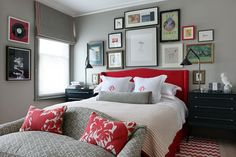 Bedroom design ideas: Part five (House and Garden) - love the red headboard. anyone notice that there's part of a lamp missing? Gray Bedroom, Home Bedroom, Bedroom Furniture, Bedroom Decor, Bedroom Ideas, Stylish Bedroom, Bedroom Wall, Design Bedroom, Preppy Bedroom